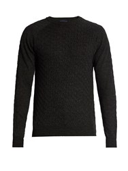 Lanvin Cable Knit Wool Sweater Dark Grey