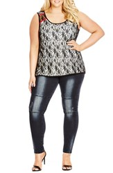 Plus Size Women's City Chic Lace Overlay Sleeveless Top