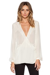 Haute Hippie Lace And Chiffon Tie Front Blouse Cream
