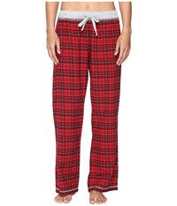 Dylan By True Grit Whisky Check Cotton Yarn Dye Flannel Pj Pants With Drawstring Red Women's Pajama