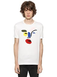 Fendi John Booth Face Leather Jersey T Shirt