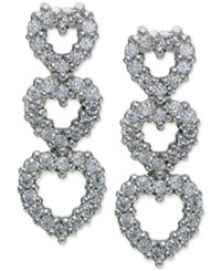 Giani Bernini Cubic Zirconia Triple Heart Drop Earrings In Sterling Silver Only At Macy's