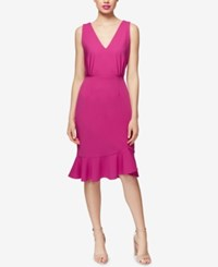 Betsey Johnson Ruffled Scuba Crepe Dress Pink