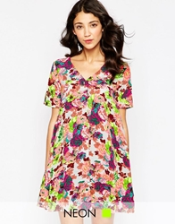 Daisy Street V Neck Dress In Floral Print Multi