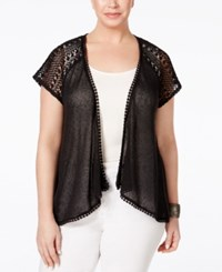 Styleandco. Style Co. Plus Size Crochet Trim Open Front Cardigan Only At Macy's Deep Black
