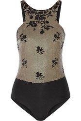 La Perla Ombre Floral Sequined Swimsuit Black
