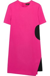 Versace Two Tone Stretch Crepe Mini Dress Fuchsia