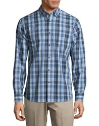 Black Brown Plaid Button Down Cotton Shirt Azure Blue