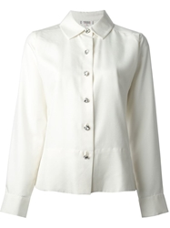 Yves Saint Laurent Vintage Diamante Button Shirt White