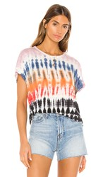 Young Fabulous And Broke Cleo Tee In Red Purple. Red Rainbow Wash