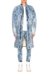 Fear Of God Selvedge Denim Holy Water Deckcoat With Sherpa Lining In Blue Ombre And Tie Dye Blue Ombre And Tie Dye