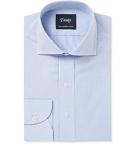 Drakes Drake's Blue Slim Fit Bengal Striped Cotton Shirt Blue