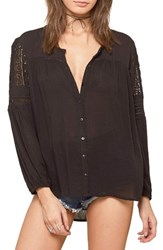 Amuse Society Women's Crawford Lace Inset Top Black