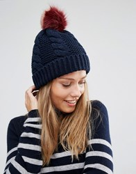 Urbancode Knitted Beanie Hat With Faux Fur Pom Pom Navy Burgundy Blush