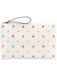 Red Valentino Star Detail Clutch Women Leather One Size White