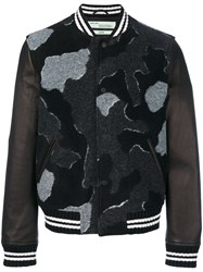 Off White 'Camou Bomber' Jacket Men Leather Acrylic Polyester Other Fibers L Black