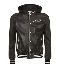 Philipp Plein Troublemaker Leather Bomber Jacket Male Black