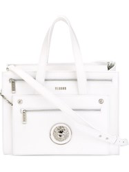 Versus Large Lion Head Double Zip Tote White
