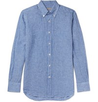 Canali Button Down Collar Gingham Linen Shirt Blue