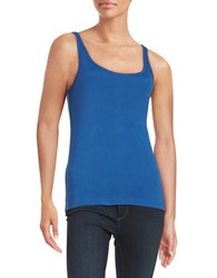 Lord And Taylor Ribbed Cotton Tank True Blue