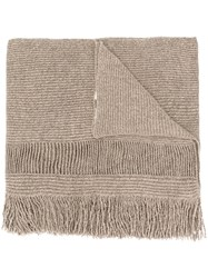 Stella Mccartney Fringed Scarf Women Cashmere Wool One Size Nude Neutrals