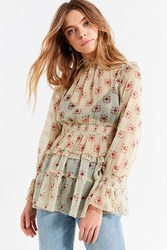 Urban Outfitters Uo Sheer Smocked Ruffle Top Neutral Multi