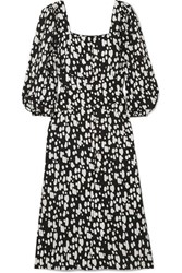 Mother Of Pearl Poppy Faux Embellished Printed Lyocell Midi Dress Black