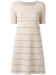 D.Exterior Embroidered Trim Dress Nude Neutrals