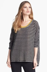 Eileen Fisher Wool And Linen Blend Striped Boatneck Sweater Black