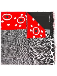Pierre Louis Mascia Fringed Spots And Stripes Scarf Black