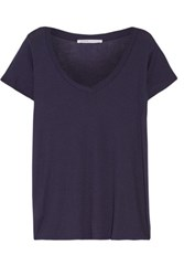 Yummie Tummie By Heather Thomson Ribbed Pima Cotton And Modal Blend Pajama Top Navy