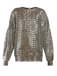 Isabel Marant Olivia Sequinned Top Silver
