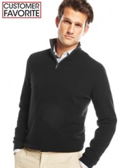 Club Room Big And Tall Cashmere Quarter Zip Solid Sweater Only At Macy's Deep Black