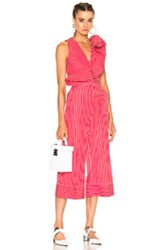 Msgm Striped Sleeveless Jumpsuit In Red Stripes Red Stripes