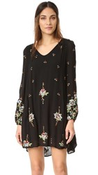 Free People Oxford Embroidered Mini Dress Black Combo