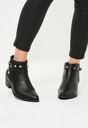 Missguided Black Studded Strappy Ankle Boots