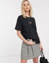 Daisy Street Oversized T Shirt With Vintage Los Angeles Print Black