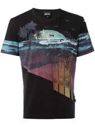 Just Cavalli Beach Print T Shirt Black