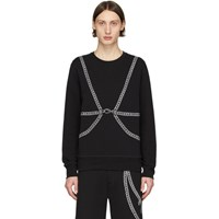 Alexander Mcqueen Black Chain Embroidery Sweatshirt