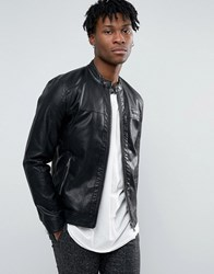 Only And Sons Faux Leather Straight Zip Biker Jacket Black