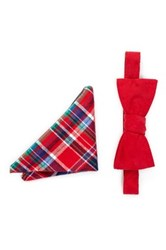 Original Penguin Laurie Solid Bow Tie And Pocket Square Set Red