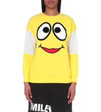Mini Cream Smiley Face Cotton Sweatshirt Yellow