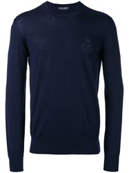 Dolce And Gabbana Bee Crown Embroidered Jumper Blue