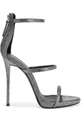 Giuseppe Zanotti Metallic Lizard Effect Leather Sandals Silver