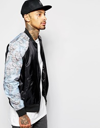 Hype Bomber Jacket With Map Print Black