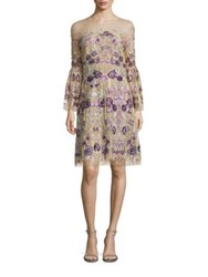 Marchesa Floral Bell Sleeve Dress Nude Multi
