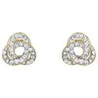 Ibb 9Ct Yellow Gold Crystalique Knot Stud Earrings Gold