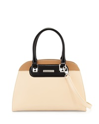 Charles Jourdan Wanda Colorblock Leather Satchel Bag Natural Tan