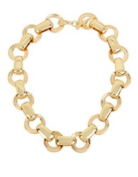 Robert Lee Morris Circle Link Collar Necklace Goldtone