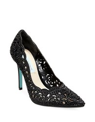 Betsey Johnson Elsa Embellished Fabric Cutout Pumps Black
